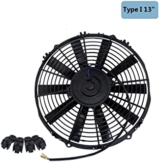 YANGSANJIN 7 9 10 12 13 14 Pulgadas Universal 12V 80W Slim Reversible Black Blade Radiador de enfriamiento eléctrico Kit de Montaje de Ventilador automático, 12 Pulgadas