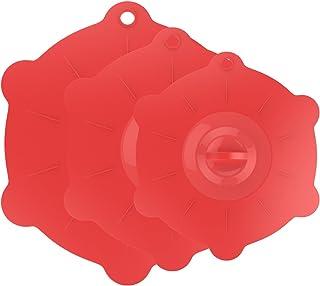 Nuovoware Silicona Tapa de Microondas, Tazón - [3 PACK] Multi-Tamaño y Durable Tapa de Copa Ollas de Silicona Suave, Envasado Sellado para Mantener la comida y la Fruta Frescas, Sandía Roja