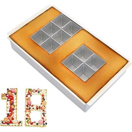 cheap4uk Moulle Gâteau Anniversaire Chiffre, Nombre Cake, Moulle Chiffre Cake, Moulle Number Cake, Moule Gâteau Rectangle Pratique pour Faire Chiffres et Lettres, Amovibles Blocs Combinaison Libre