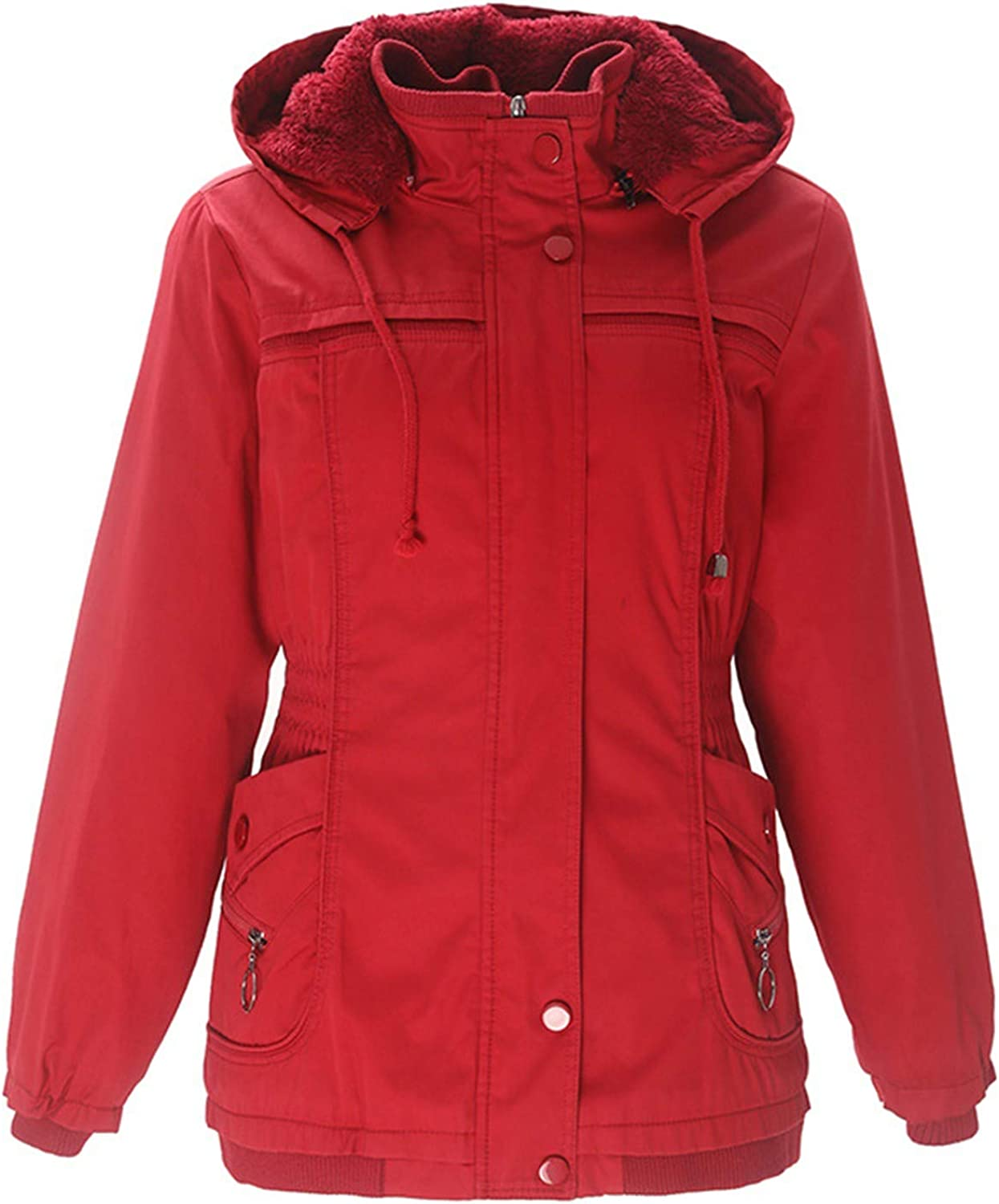 Women's Cotton-Padded Fleece Mid-Length Coat Hoodie Parkas Collar Outwear Jacket with Drawstring
