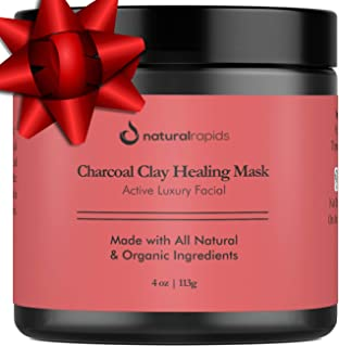 Indian Healing Clay With Charcoal Face Mask - Best For Blackheads And Acne Treatment - Calcium Bentonite Clay Mask - Facial Cleanser, Blackhead Remover, And Pore Minimizer