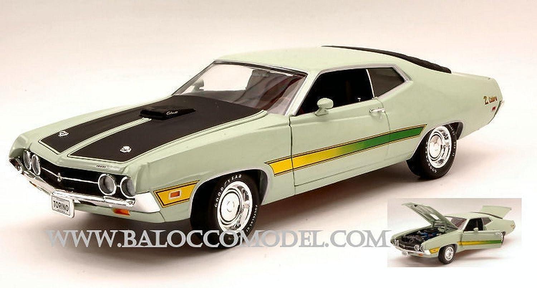 Autoworld Auto World AMM992 Ford Torino Cobra 1971 Light Grün  schwarz 1 18 DIE CAST Model kompatibel mit