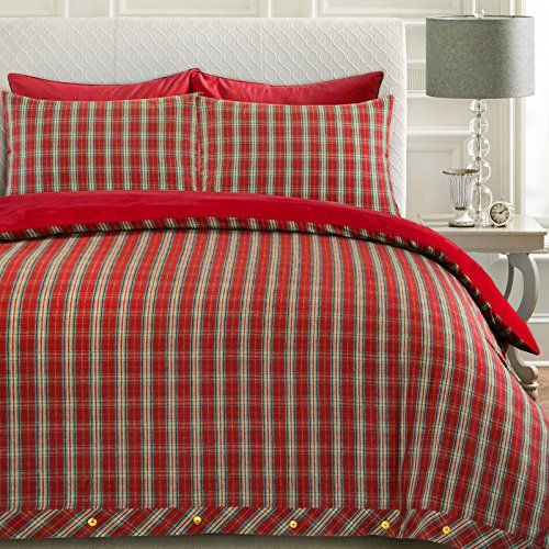 Nimsay Home, Set copripiumino con federe Highland, 100% flanella di cotone, per letto singolo, matrimoniale, king size, motivo scozzese a quadri, 100% spazzolato in cotone, Rosso, King
