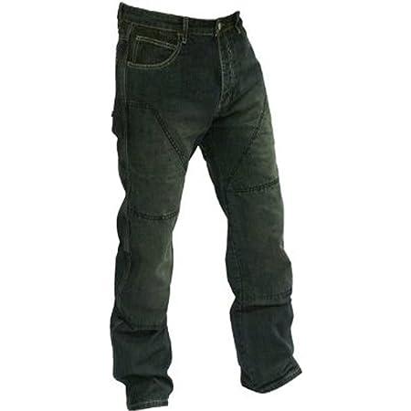 Juicy Trendz Herren Motorradrüstung Biker Motorrad Denim Hose Jeans W32 L32 Schwarz Bekleidung