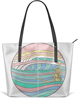 Flexible Surfboards Pattern Leather Handbag Tote Bag For Women's