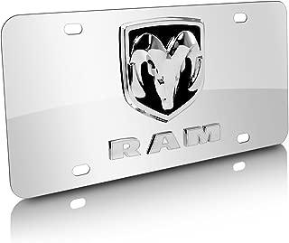 iPick Image for RAM 3D Logo Mirror Chrome Stainless Steel License Plate