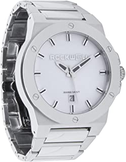 Rockwell Men's CM111 Commander Stainless Steel Silver and WHITE Watch