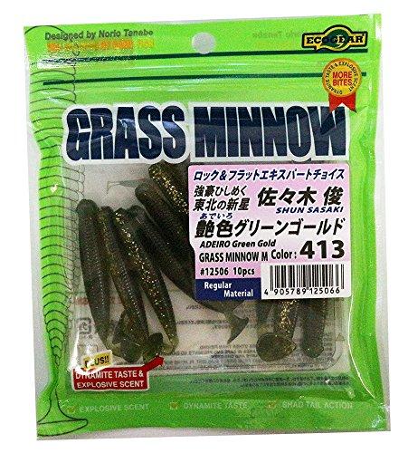 エコギア(Ecogear) ワーム グラスミノー L 3‐1/4インチ 413 艶色グリーンゴールド.