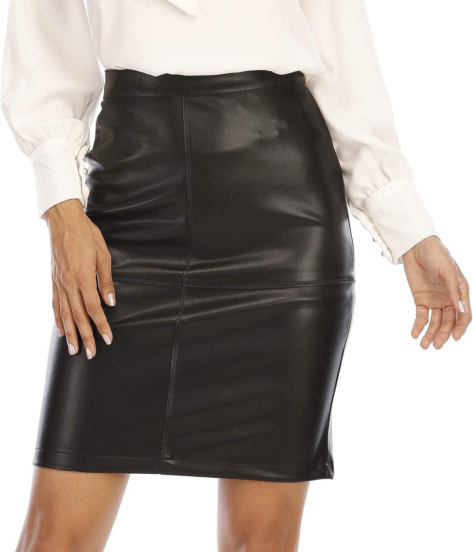 Fahsyee Womens Leather Skirt, Bodycon Faux Mini High Waist Casual Zip PU Slim Pencil Plus Size