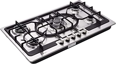 Deli-kit DK257B-C01 30 LPG//NG Gas Cooktop gas hob stovetop 5 burners Dual Fuel 5 Sealed Burners Built-In gas hob Stainless Steel 110V AC pulse ignition gas Cooker gas stove with cast iron support