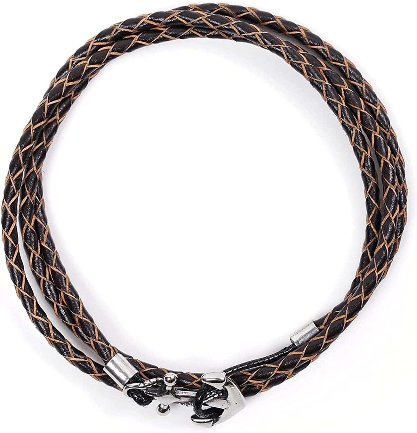 Handmade Genuine Leather Wrap Bracelet For Cheap mail order Sales results No. 1 sales Antique Stainl - Mens