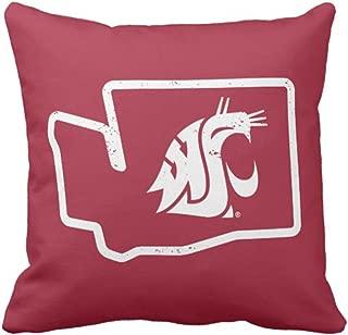 Emvency Throw Pillow Cover Wsu Cougars Vintage Washington State Decorative Pillow Case Retro Home Decor Square 20 x 20 Inch Cushion Pillowcase