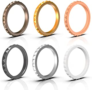 Arua Thin Silicone Wedding Rings for Women 6-Pack Stackable Silicone Rings,  Diamond Pattern – Fashion Rubber Wedding Bands