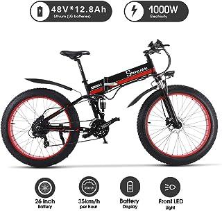 Shengmilo 26 Pulgadas eléctrica Bicicleta de Nieve, 1000W 48V 13ah Plegado neumático Gordo Bicicleta de montaña MTB Shimano 21 Speed E-Bike Pedal Assist Freno de Disco hidráulico
