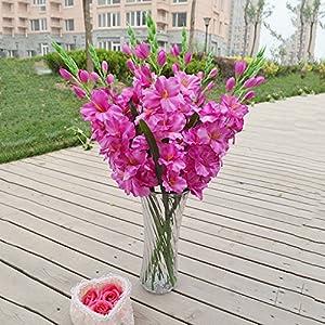 Silk Flower Arrangements joyMerit Artificial Gladioli Spray Stem Fake Silk Tropical Flowers Gladiolus Decor - Pick - Purple, 80cm