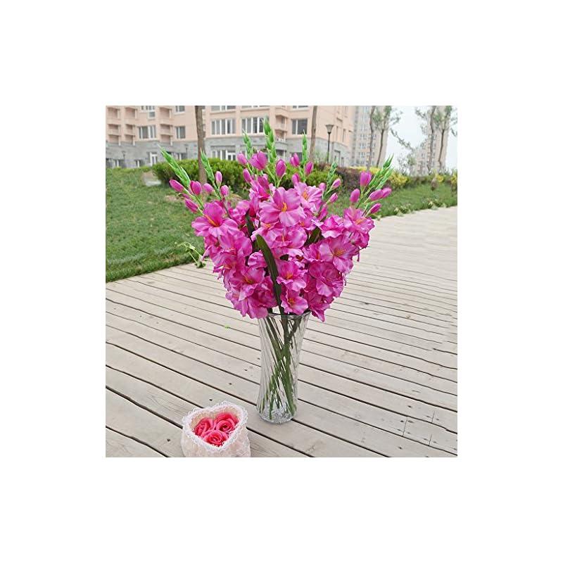 silk flower arrangements loviver 80cm artificial gladiola gladiolus flower stem home garden decor 8 colors - purple