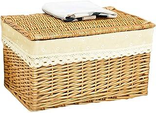 Boîte de rangement Vêtements Lidded Paniers De Stockage Bacs De Rangement Commodes Conteneur Rotin Léger Empilable Cube La...