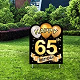 Yangmics Direct 65th Birthday 1955 - Outdoor Lawn Sign - Yard Sign - 1 Piece -Black Gold