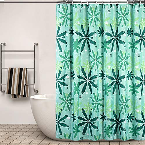 XTUK Home Decor - Tenda da doccia in poliestere con stampa, impermeabile, antibatterica, con ganci, verde, 200*180cm