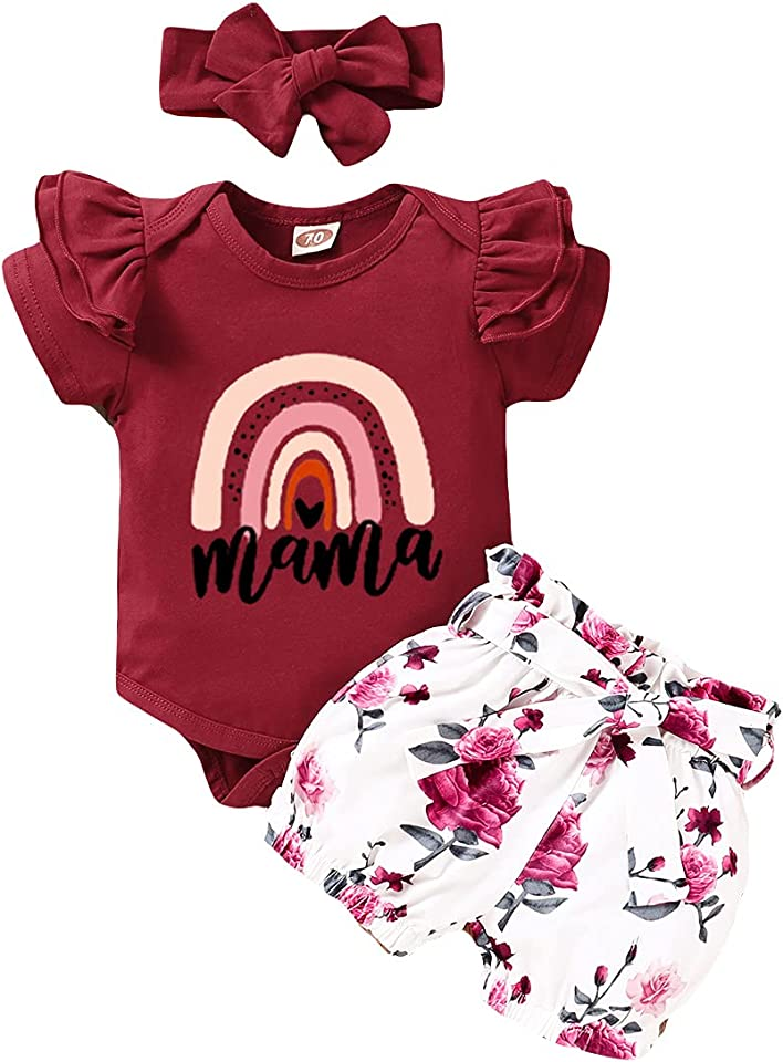 Newborn Baby Girl 3Pcs Outfits Ruffle Sleeve Romper Bodysuit Floral Bowknot Shorts Headband Mother's Day Clothes Set
