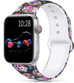 HUMENN Band Compatible with Apple Watch 38mm 40mm,Fadeless Pattern Printed Floral Silicone Replacement Bands for iWatch Series 4,3,2,1/Women Men Colored Skull 38mm/40mm M/L