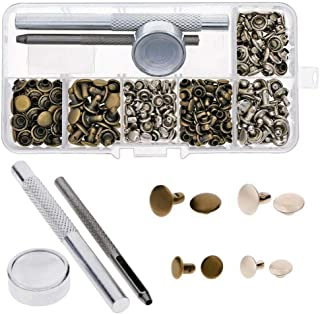RuiLing 120 Sets 6mm/8mm Double Cap Rapid Rivets Assorted Kit Leathercraft Snap Fastener Studs Handmade DIY Accessory for Shoes Clothes Bags Belt Jeans Garment (Silver, Bronze)