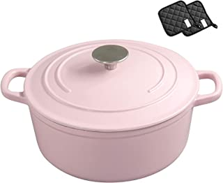 Round Cast Iron Dutch Oven with Lid,Nonstick Dutch Oven Pan Stockpot,Non Toxic APEO PFOA Free Cookware,Ideal for Family-Pi...