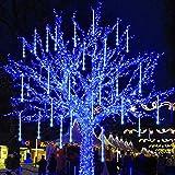 Joliyoou Meteor Shower Rain Lights, 12 Inch 8 Tubes 288 LEDs Christmas Snow Falling Lights, LED Tube Christmas Falling Rain Lights Outdoor Tree Lights (Blue)