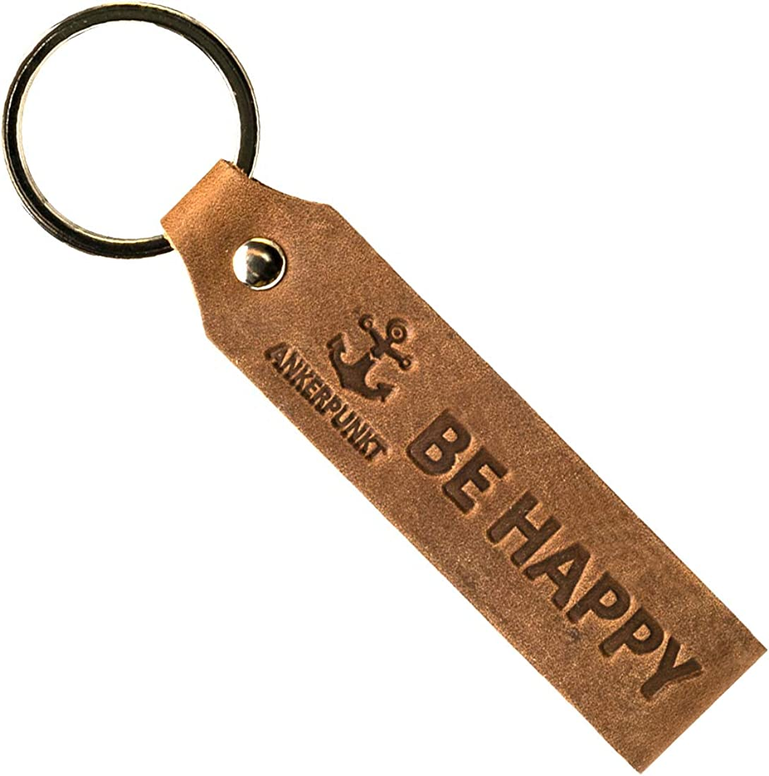 Keychain leather with engraving Be Happy - Lucky charm car - Gifts for women men, Gift idea for a birthday - Made in Germany (dark brown) Used Look