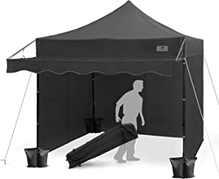 FinFree 10x10 FT Pop Up Canopy Tent Commercial Instant Canopy with Awning, Roller Bag, 6 Walls and Weight Bags, Black