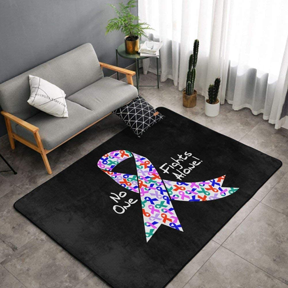 Luxury No trend rank 1 year warranty One Fights Alone Cancer Room for Kids Rug Bedr Ribbon