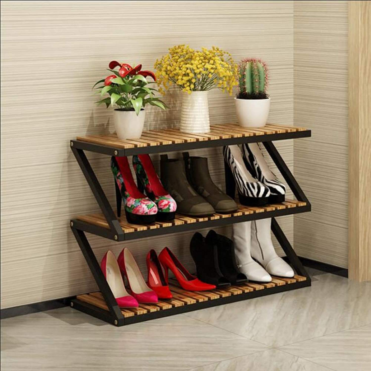 LJHA xiejia shoes Rack Solid Wood Storage Rack Hall Cabinet shoes Cabinet Living Room Home shoes Rack Multi-Layer Simple Household Space Saving Large Capacity shoes Rack 80  26  52CM (color   B)