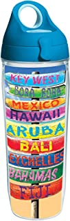 Tervis 1231214 Tropical Destination Signs Tumbler with Wrap and Turquoise Lid 24oz Water Bottle, Clear