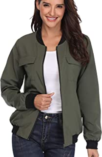 MISS MOLY Women's Bomber Jackets Long Sleeve Zip Up Lightweight Coat