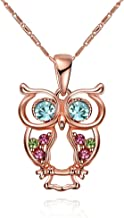INOD Fashion Rose Gold Plated Glass and Czech Drill Owl Necklace (Rose Gold)