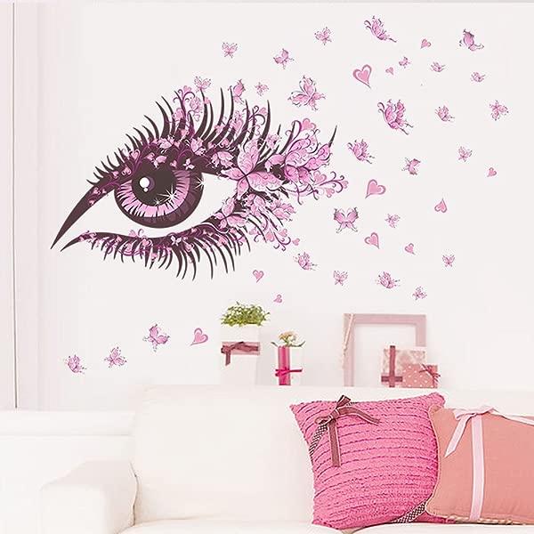 漂亮的女孩眼睛墙贴 E 风景粉色剥离和粘贴 DIY 3D 墙贴花儿童房壁画艺术墙纸家庭幼儿园派对窗户装饰