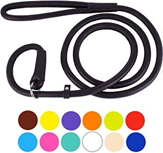 CollarDirect Rolled Leather Dog Leash 6ft 4ft, Heavy Duty Slip Lead, Slip Leashes Small Medium Large Dogs, Round Puppy Leash Female Male Pink Black Brown Red