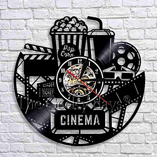 CCGGG Diseño de Cine Palomitas de maíz Disco de Vinilo Retro Hecho a Mano LED Reloj de Pared Regalo de inauguración para la decoración de la habitación de los jóvenes