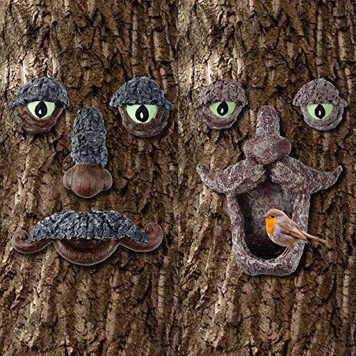 2 Piezas Decoraciones de Caras de Árboles Comedero para Pájaros al Aire Libre Comedero para Pájaros en Forma de Hombre con Gancho de Bigote Estatuas de Árboles de Jardín para Arte de Patio