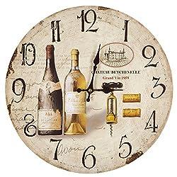 Yosemite Home Decor Circular Wooden Wall Clock, Brown MDF, Artwork Face, Black Text, Black Hands
