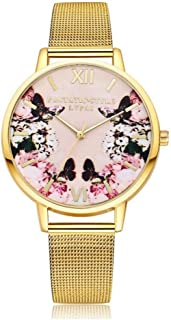 Women Wristwatch, Casual Quartz Watch with Alloy Mesh Watch Band and Flower Pattern Circular Dial for Girls