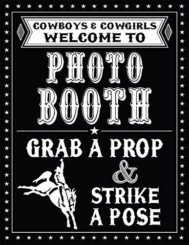 1 Pc Photo Booth Sign Grab a Prop and Strike a Pose Cowboy Western Theme