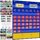 """KMUYSL Calendar Pocket Chart with 114 Cards, 27""""x23"""" Monthly Calendar Chart for Preschool Kids Fun Classroom Learning Supplies Materials"""