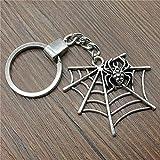 BMGFEW Schlüsselanhänger Spider Web Schlüsselring Schlüsselanhänger 47x42mm Silberkette Souvenir Geschenk