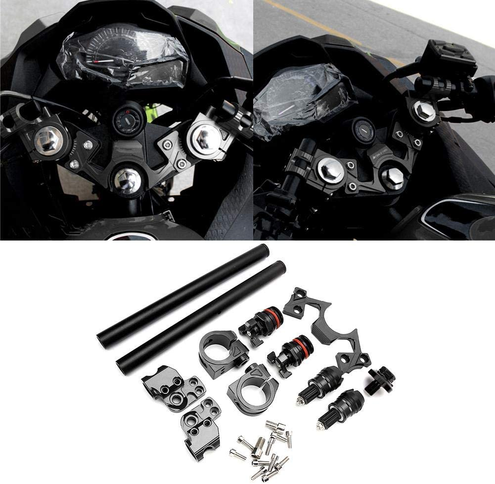 Akozon Motorcycle Adjustable Handlebars Clip Adjusters Fork Clamp Fits for Kawasaki Ninja 250 300 Green