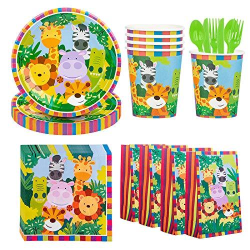 DreamJing Vajilla de 116 piezas con diseño de animales para 16 niños,...