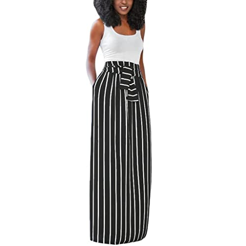 86faedf12c4 HOTAPEI Women's Full Length Elastic Waisted Maxi Skirt Vertical Striped  Long Skirts with Pocket