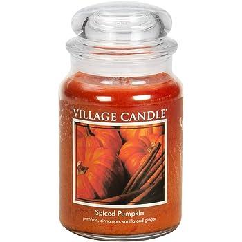 Village Candle Spiced Pumpkin 26 oz Glass Jar Scented Candle, Large