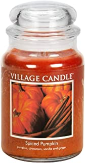 Village Candle Spiced Pumpkin 21.25 oz Glass Jar Scented Candle, Large