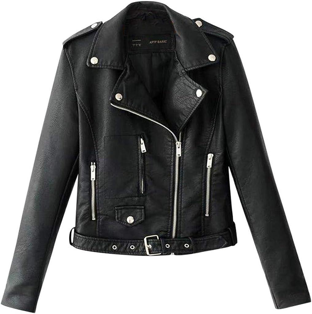 baskuwish Women Motorcycle Lightweight Leather Jacket Casual Lapel Collar Multiwear Moto Biker Motorcycle Motorbike Jacket